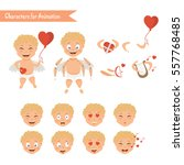 cupid angels icons set little... | Shutterstock .eps vector #557768485