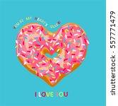 valentine's day card. donut in...   Shutterstock .eps vector #557771479