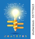 pencil light bulb as creative... | Shutterstock .eps vector #557773615