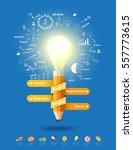 pencil light bulb as creative...   Shutterstock .eps vector #557773615