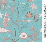 under the sea seamless pattern... | Shutterstock .eps vector #557785987