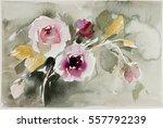 flowers watercolor design | Shutterstock . vector #557792239