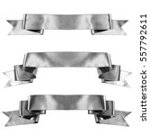Small photo of Silver banner ribbon set isolated on white background
