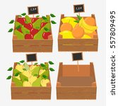 wooden box for fruit and... | Shutterstock .eps vector #557809495
