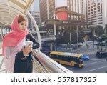 courageous women looking at the ...   Shutterstock . vector #557817325