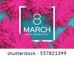 Stock vector  march pink floral greeting card international happy women s day paper cut flower blue holiday 557821399