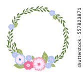 simple vector floral frame in a ... | Shutterstock .eps vector #557823871