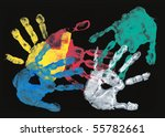 set of colorful hand prints on... | Shutterstock . vector #55782661