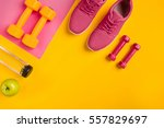 athlete's set with female... | Shutterstock . vector #557829697