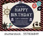 pirate happy birthday... | Shutterstock .eps vector #557836849