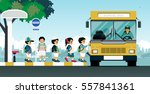 school bus picks up students at ... | Shutterstock .eps vector #557841361