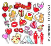 happy valentines day doodle for ... | Shutterstock .eps vector #557847025