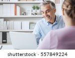 woman meeting a confident... | Shutterstock . vector #557849224