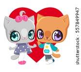 kittens boy and girl on the...   Shutterstock .eps vector #557849947