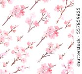 watercolor with spring tree in... | Shutterstock . vector #557859625