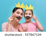 funny family on a background of ... | Shutterstock . vector #557867134