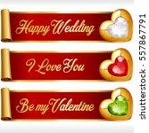 golden gem hearts and red... | Shutterstock .eps vector #557867791