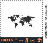 world map icon flat. simple... | Shutterstock .eps vector #557869381