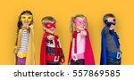 superhero kids friendship... | Shutterstock . vector #557869585