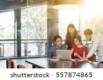 4 people meeting in coffee shop ... | Shutterstock . vector #557874865
