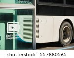 electric bus near charging for...   Shutterstock . vector #557880565