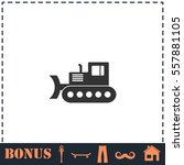 bulldozer icon flat. simple... | Shutterstock .eps vector #557881105