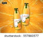 orange juice contained in glass ... | Shutterstock .eps vector #557883577