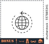 travel icon flat. simple vector ... | Shutterstock .eps vector #557885341