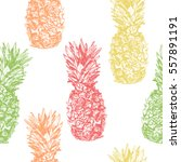 seamless pattern with pineapple ... | Shutterstock .eps vector #557891191