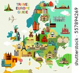 europe map with famous... | Shutterstock .eps vector #557894269