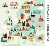 europe map with famous... | Shutterstock .eps vector #557894281