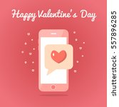 smartphone with sealed love sms.... | Shutterstock .eps vector #557896285