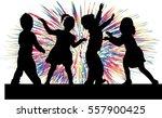 dancing children. silhouettes... | Shutterstock .eps vector #557900425