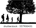 family silhouettes in nature. | Shutterstock .eps vector #557900431