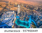 dubai skyline at dusk  uae. | Shutterstock . vector #557900449