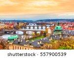 prague  panorama with vltava... | Shutterstock . vector #557900539