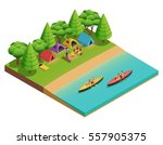 camping hiking isometric... | Shutterstock .eps vector #557905375