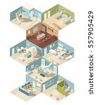 hospital indoors isometric... | Shutterstock .eps vector #557905429