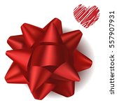 red realistic gift bow from... | Shutterstock .eps vector #557907931