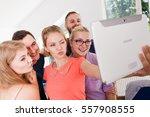 fun bonding selfie concept.... | Shutterstock . vector #557908555