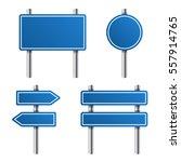 blue road sign set on white... | Shutterstock . vector #557914765