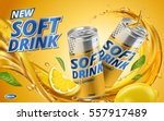soft drink lemon flavor contained in yellow metal can, orange background and flows | Shutterstock vector #557917489