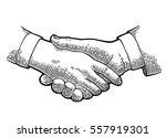 handshake. vector black vintage ... | Shutterstock .eps vector #557919301