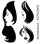 set of vector woman silhouette... | Shutterstock .eps vector #557923651