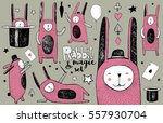 cute rabbit and magic set.... | Shutterstock .eps vector #557930704