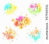 happy holi spring festival... | Shutterstock .eps vector #557935531