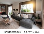 beautiful room interior with... | Shutterstock . vector #557942161