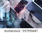 top view of man hand using voip ... | Shutterstock . vector #557950687