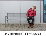 bored teen waiting for parents... | Shutterstock . vector #557953915