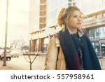 girl tourist lost in the city | Shutterstock . vector #557958961